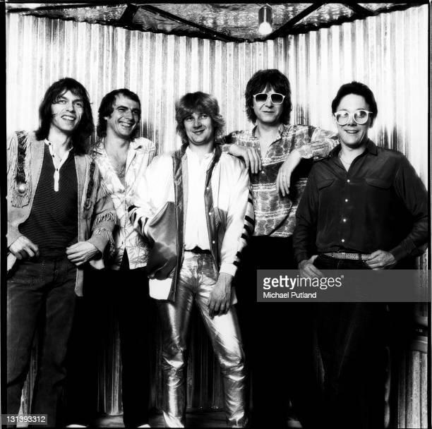 English progressive rock group Yes August 1980 LR Steve Howe Alan White Geoff Downes Chris Squire Trevor Horn