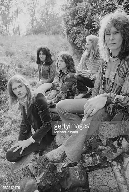 English progressive rock group Yes UK 19th September 1974 Left to right guitarist Steve Howe keyboard player Patrick Moraz singer Jon Anderson...
