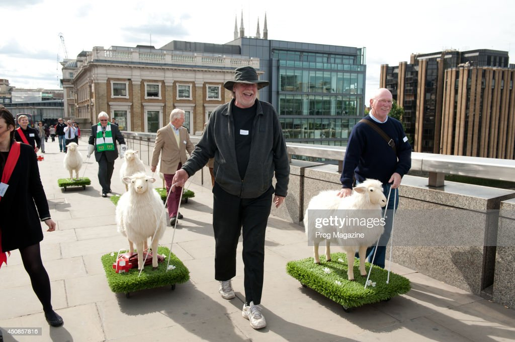 English progressive rock musician Rick Wakeman (left) takes part in a Red Cross charity event in which the Freeman of the City of London exercise their right to drive sheep across London Bridge, September 20, 2012.