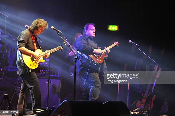 English progressive rock musician Steve Hackett and special guest guitarist Steve Rothery of Marillion performing live on stage at the Hammersmith...
