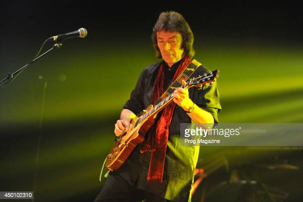 English progressive rock musician Steve Hackett performing live on stage at the Hammersmith Apollo in London during his 2013 Genesis Revisited tour...