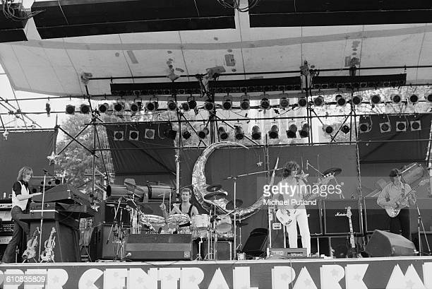 English progressive rock supergroup UK performing in Central Park New York City 7th July 1978 Left to right Eddie Jobson Bill Bruford John Wetton and...