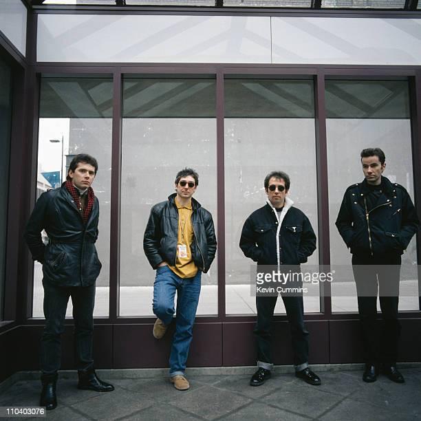 English punk band The Buzzcocks in Minneapolis Minnesota 23rd November 1989 Left to right bassist Steve Garvey guitarist Steve Diggle singer Pete...