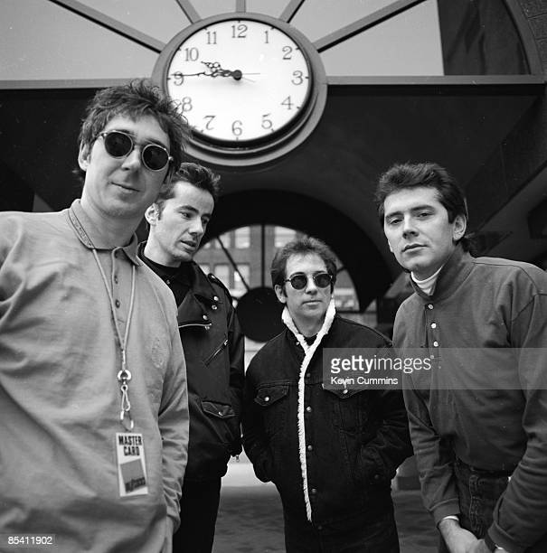 English punk band The Buzzcocks in Minneapolis Minnesota 23rd November 1989 Left to right guitarist Steve Diggle drummer John Maher singer Pete...