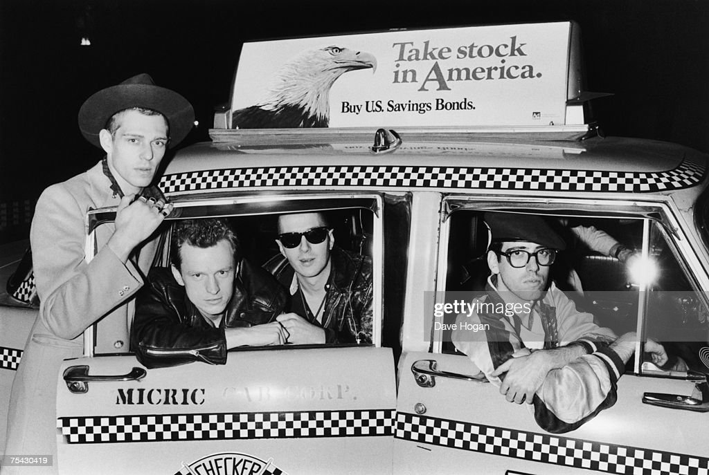 English punk band The Clash in a New York taxicab, 1983. Left to right: Paul Simonon, Pete Howard, Joe Strummer (1952 - 2002) and <a gi-track='captionPersonalityLinkClicked' href=/galleries/search?phrase=Mick+Jones+-+Musician+-+The+Clash&family=editorial&specificpeople=212985 ng-click='$event.stopPropagation()'>Mick Jones</a>.