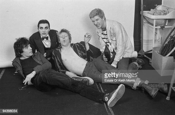 English punk band The Damned during a photoshoot in Little Venice London 1977 From left to right Brian James Dave Vanian Rat Scabies and Captain...