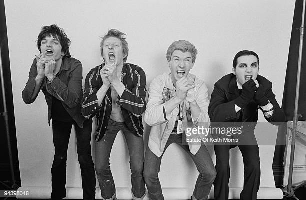 English punk band The Damned during a photoshoot in Little Venice London 1977 From left to right Brian James Rat Scabies Captain Sensible and Dave...