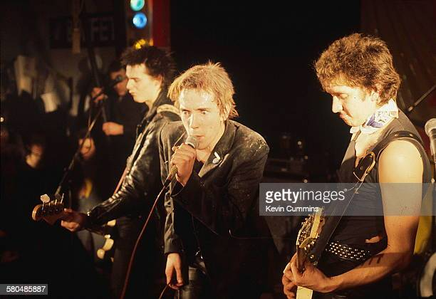 English punk band the Sex Pistols performing at Ivanhoe's Huddersfield on Christmas day 1977 Left to right bassist Sid Vicious singer Johnny Rotten...