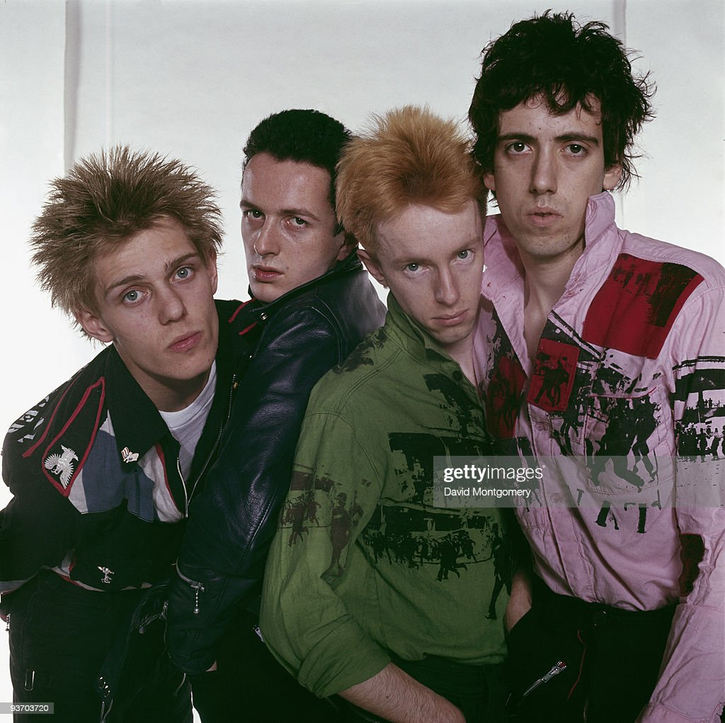 English punk group The Clash, circa 1977. Left to right: bassist Paul Simenon, singer <a gi-track='captionPersonalityLinkClicked' href=/galleries/search?phrase=Joe+Strummer&family=editorial&specificpeople=226957 ng-click='$event.stopPropagation()'>Joe Strummer</a> (1952 - 2002), drummer Topper Headon and guitarist <a gi-track='captionPersonalityLinkClicked' href=/galleries/search?phrase=Mick+Jones+-+Musician+-+The+Clash&family=editorial&specificpeople=212985 ng-click='$event.stopPropagation()'>Mick Jones</a>.