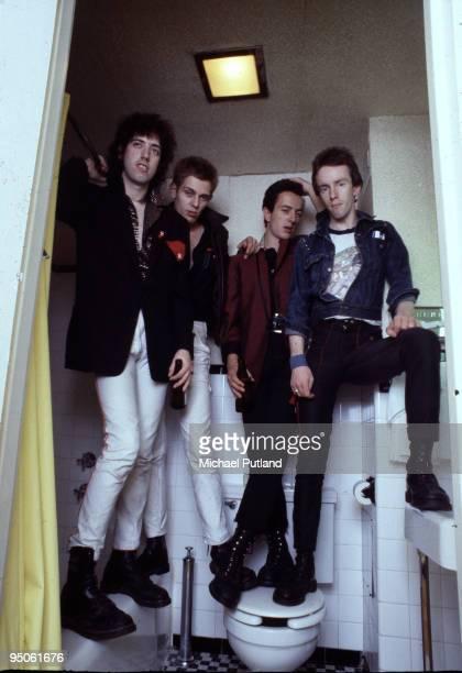 English punk group The Clash New York 1978 Left to right guitarist Mick Jones bassist Paul Simonon singer Joe Strummer and drummer Topper Headon