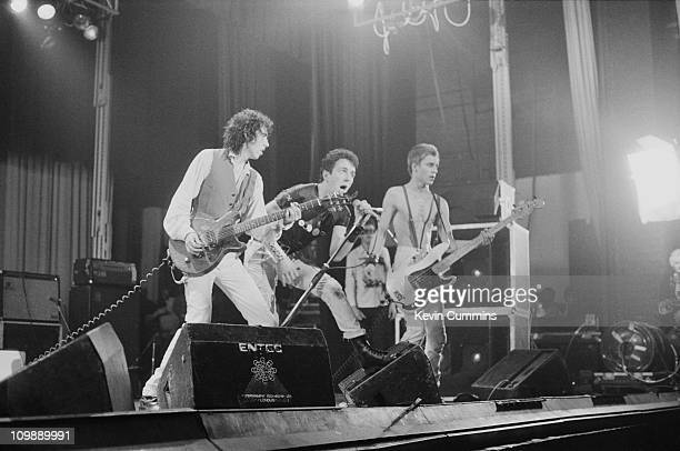 English punk group The Clash performing at the Apollo Manchester 2nd July 1978 Left to right Mick Jones Joe Strummer and Paul Simonon