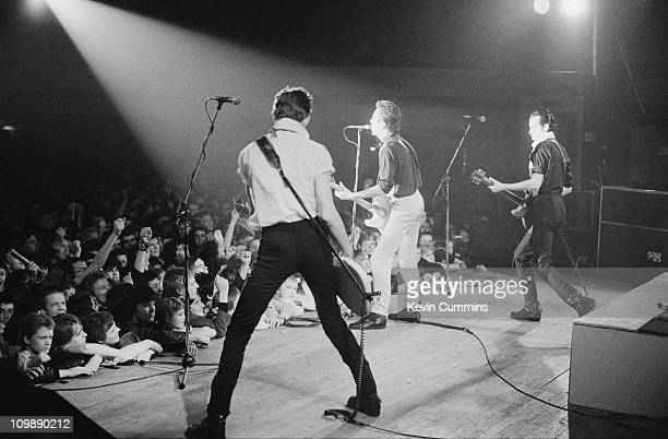 English punk group The Clash performing at the De Montfort Hall Leicester 16th January 1980 Left to right Paul Simonon Joe Strummer and Mick Jones