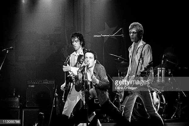 English punk group The Clash performing at the Music Machine London July 1978 Left to right Mick Jones Joe Strummer and Paul Simonon