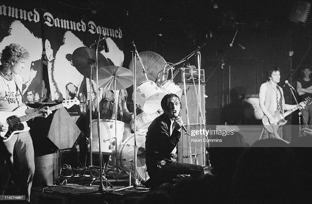 English punk group The Damned performing at the Marquee Club London 4th July 1977 Left to right Captain Sensible Drummer Rat Scabies Dave Vanian and...