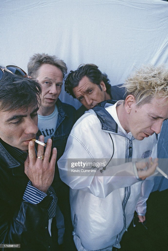 English punk group the Sex Pistols during their Filthy Lucre reunion tour, 1996. Left to right: bassist Glen Matlock, drummer Paul Cook, guitarist Steve Jones and singer John Lydon.