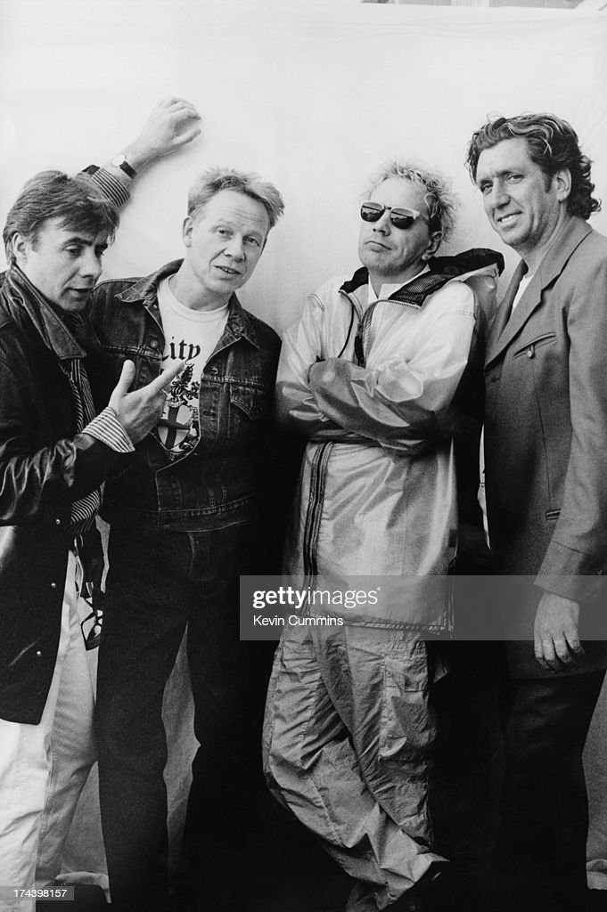 English punk group the Sex Pistols during their Filthy Lucre reunion tour, 1996. Left to right: bassist Glen Matlock, drummer Paul Cook, singer John Lydon and guitarist Steve Jones.