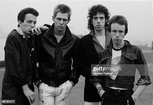 English punk rock group The Clash New York 1978 Left to right singer Joe Strummer bassist Paul Simonon guitarist Mick Jones and drummer Nicky...
