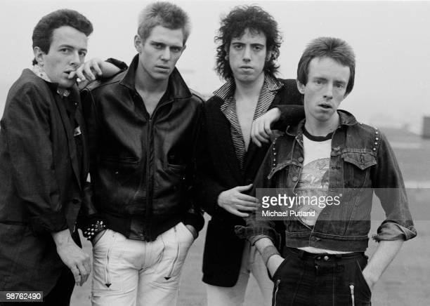 English punk rock group The Clash New York 1978 Left to right singer Joe Strummer bassist Paul Simonon guitarist Mick Jones and drummer Nicky...