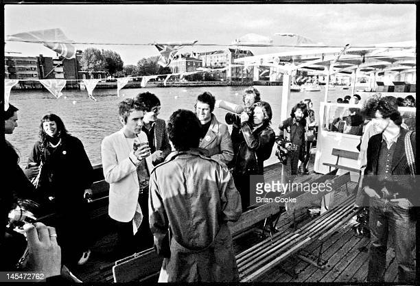 English punk rock group the Sex Pistols aboard the Queen Elizabeth on the River Thames on June 7 1977 during their Silver Jubilee Boat Trip The group...