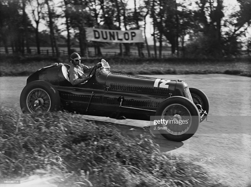 English racing driver Eileen Ellison driving a Maserati during practice for the following day's Junior Car Club 200 Miles Race at Donington Park...