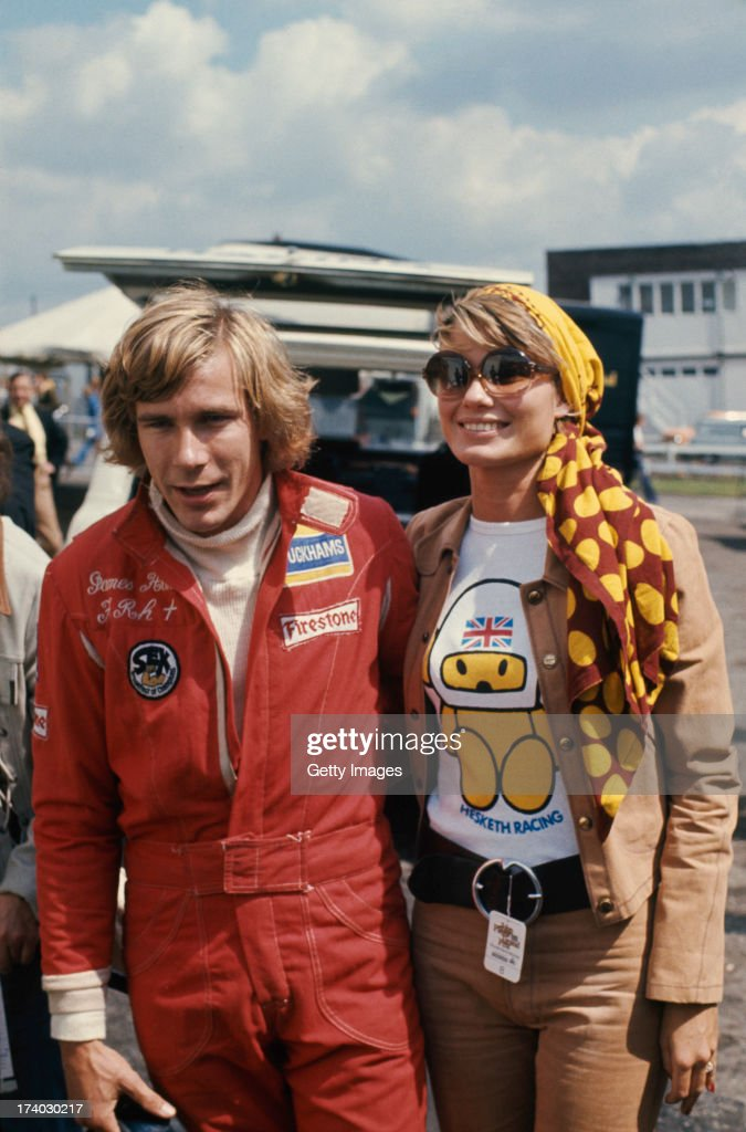 English racing driver James Hunt with his first wife Suzy Miller at the British Grand Prix Brands Hatch 20th July 1974