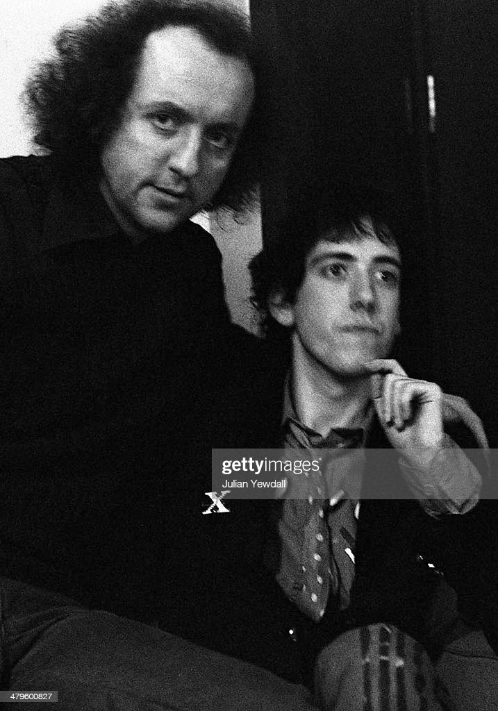 English record producer and manager Guy Stevens (1943 - 1981, left) and guitarist <a gi-track='captionPersonalityLinkClicked' href=/galleries/search?phrase=Mick+Jones+-+Musician+-+The+Clash&family=editorial&specificpeople=212985 ng-click='$event.stopPropagation()'>Mick Jones</a> of British punk group The Clash, backstage at a concert at the Royal College of Art (RCA), London, 5th November 1976. In 1979 Stevens produced The Clash album, 'London Calling'.