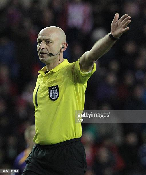 English referee Roger East officiates during the English FA Cup fourth round football match between Sunderland and Kidderminster Harriers at the...