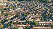Terraced houses in Somerset, England, photographed from a hot-air balloon.