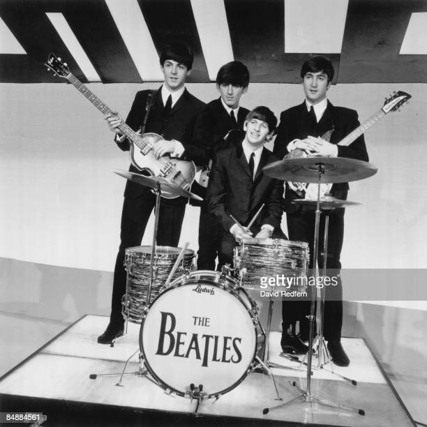 STARS Photo of BEATLES Birmingham studios Paul McCartney George Harrison Ringo Starr John Lennon posed group shot at Alpha Television Studios Aston...