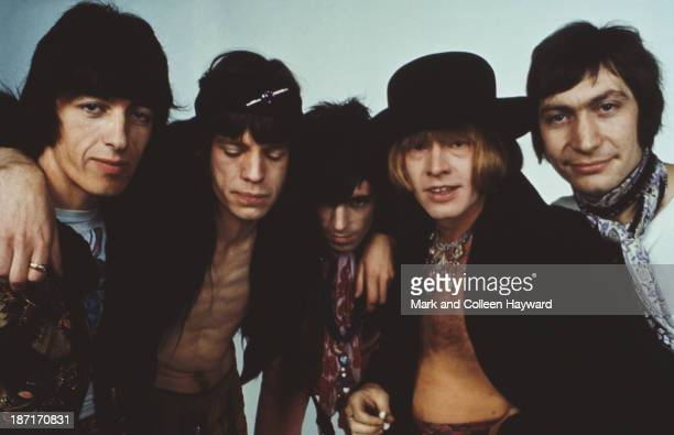 English rock and roll band The Rolling Stones posed in 1968 Left to right Bill Wyman Mick Jagger Keith Richards Brian Jones and Charlie Watts