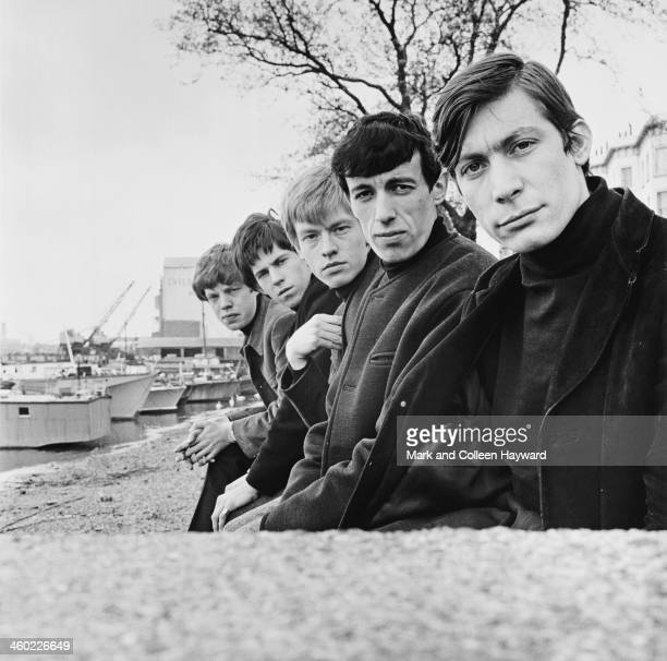 English rock and roll group The Rolling Stones posed on Chelsea Embankment in London in 1963 Left to right Mick Jagger Keith Richards Brian Jones...