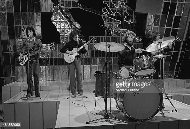 English rock band 10cc performing on the Christmas Day edition of the BBC TV music show 'Top Of The Pops' broadcast 25th December 1973 Left to right...