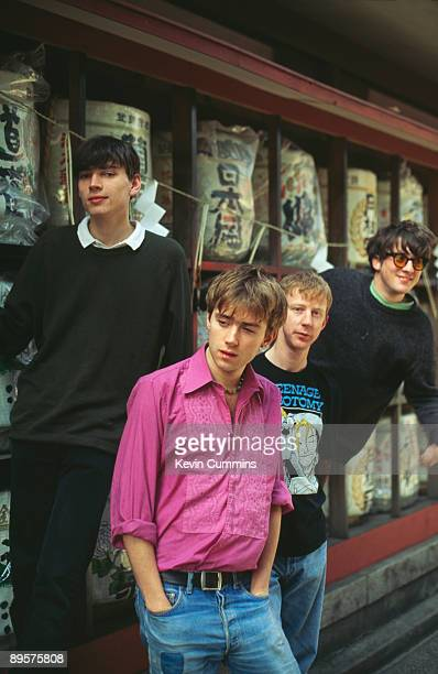 English rock band Blur in Tokyo March 1992 From left to right bassist Alex James singer and songwriter Damon Albarn drummer Dave Rowntree and...