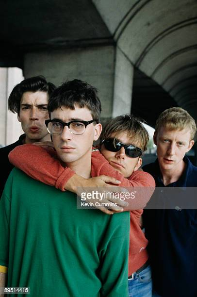 English rock band Blur pose under London's Westway 1995 From left to right bassist Alex James guitarist Graham Coxon singer Damon Albarn and drummer...