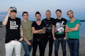 English rock band Lostprophets pose backstage at the Ferro Festival in Ferropolis on July 31 2010 in Graefenhainichen Germany
