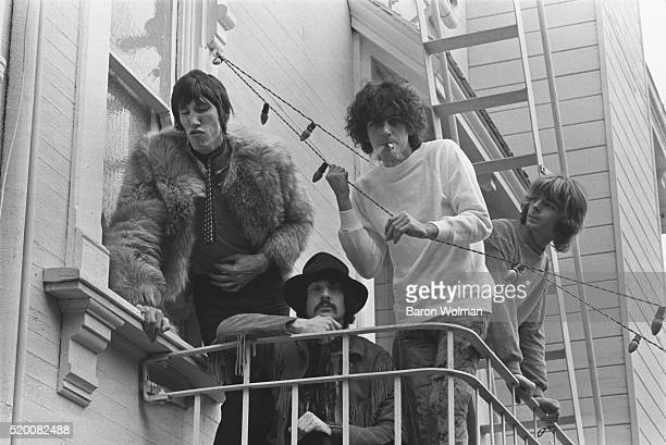 English rock band Pink Floyd photographed at the Casa Madrona Hotel Sausalito CA November 1967 From left to right Nick Mason Roger Waters Syd Barrett...