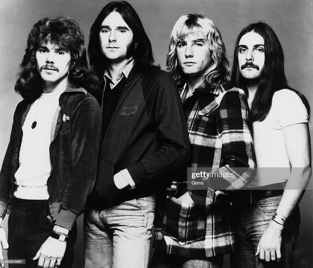 English rock band Status Quo, circa 1974. From left to right, Alan Lancaster, Francis Rossi, Rick Parfitt, John Coghlan.