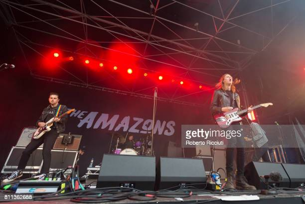 English rock band The Amazons perform on stage during TRNSMT Festival Day 3 at Glasgow Green on July 9 2017 in Glasgow Scotland