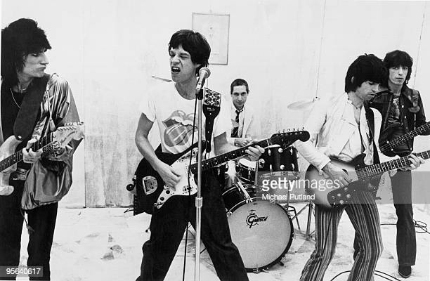 English rock band The Rolling Stones perform on a soundstage circa 1976 From left to right Ron Wood Mick Jagger Charlie Watts Keith Richards Bill...