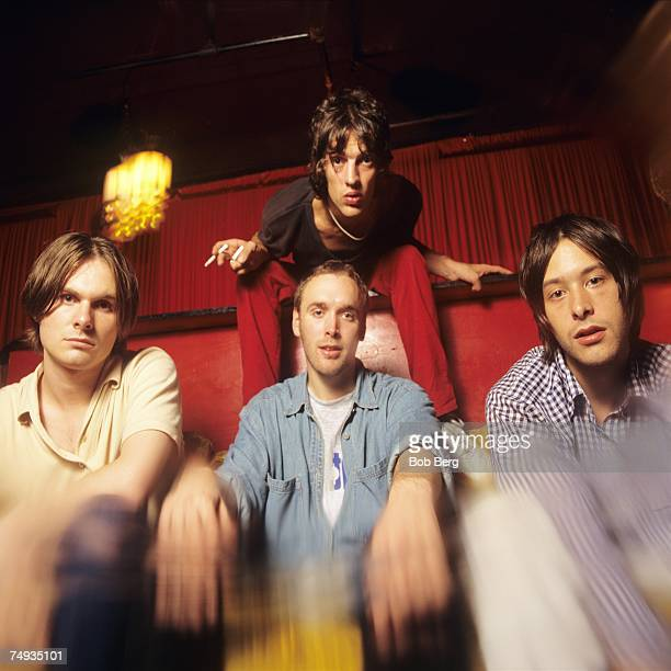 English rock band The Verve drummer Peter Salisbury guitarist Nick McCabe lead vocalist Richard Ashcroft and bassist Simon Jones pose for a July 1996...