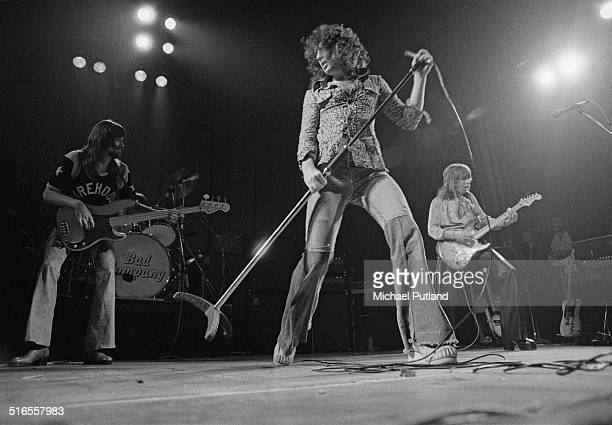 English rock group Bad Company peforming on stage 8th April 1974 Left to right Boz Burrell Paul Rodgers and Mick Ralphs