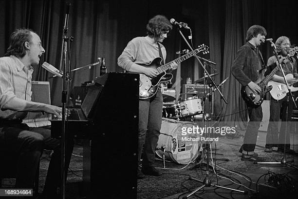 English rock group Brinsley Schwarz performing on stage 4th May 1973 Left to right Bob Andrews Brinsley Schwarz Nick Lowe and Ian Gomm