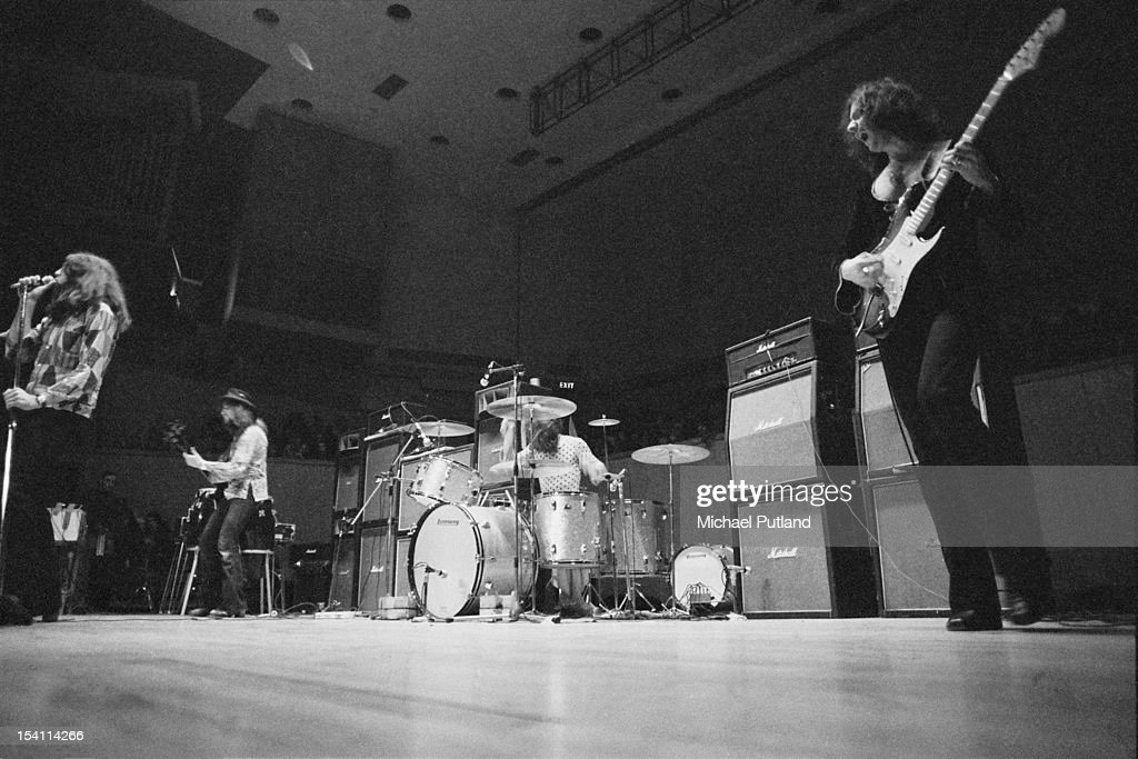 English rock group Deep Purple performing at Fairfield Halls, Croydon, London, March 1972. Left to right: Ian Gillan, Roger Glover, Ian Paice and Ritchie Blackmore.