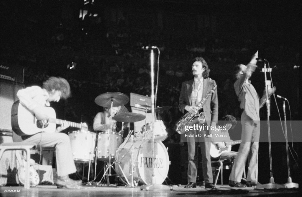 English rock group Family performing on stage at the Royal Albert Hall, London, 22nd April 1969. Left to right: bassist Ric Grech (1946 - 1990), drummer Rob Townsend, saxophonist Jim King, guitarist John 'Charlie' Whitney and singer Roger Chapman.