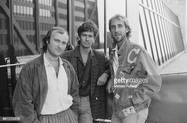 English rock group Genesis in Rosemont Illinois during the band's Invisible Touch Tour October 1986 Left to right singer/drummer Phil Collins...