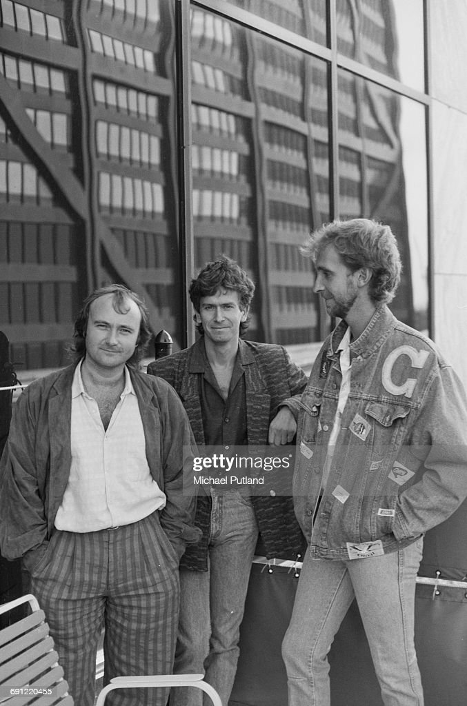 English rock group Genesis in Rosemont, Illinois, during the band's Invisible Touch Tour, October 1986. Left to right: singer/drummer Phil Collins, keyboard player Tony Banks and bassist Mike Rutherford.