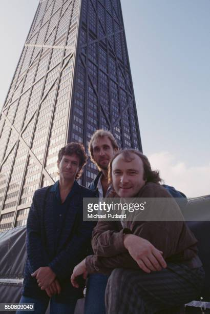 English rock group Genesis in Rosemont Illinois during the band's Invisible Touch Tour October 1986 Left to right keyboard player Tony Banks bassist...