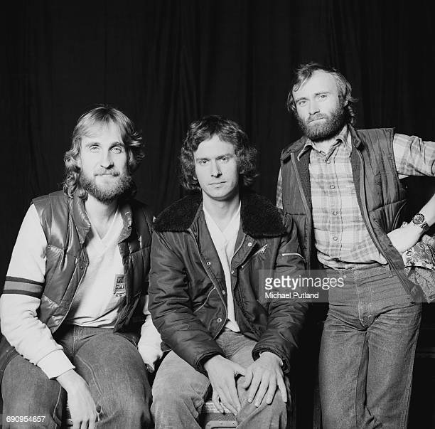 English rock group Genesis New York 1978 Left to right bassist Mike Rutherford keyboard player Tony Banks and drummer/singer Phil Collins