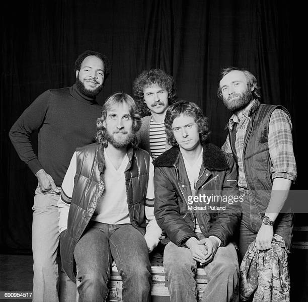 English rock group Genesis New York 1978 Left to right drummer Chester Thompson bassist Mike Rutherford guitarist Daryl Stuermer keyboard player Tony...