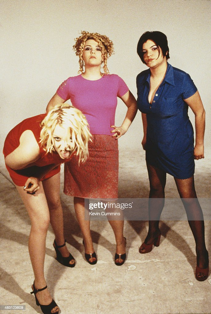 English rock group Kenickie, April 1997. Left to right: singer Lauren Laverne, guitarist Marie du Santiago and bassist Emmy-Kate Montrose.